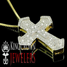MENS LADIES REAL 925 SILVER GOLD FINISH LAB DIAMOND MINI CROSS PENDANT CHAIN SET