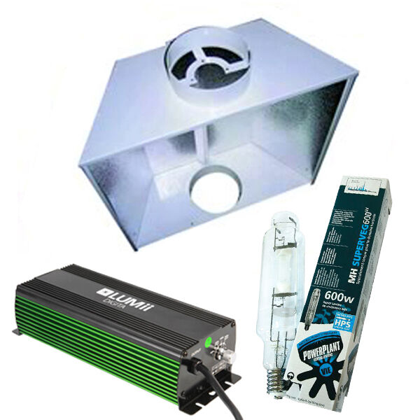 Air Cooled Aero Reflector  600w Lumii Dimmable Complete Light Kit Hydroponics