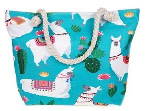 Large-Canvas-Beach-Bag-Turquoise-White-Llama-Rope-Handles-Animal-Zipped-LilyRosa