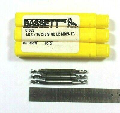 Brand New Bassett #01533 7//16 2FL BN TICN Carbide End Mill