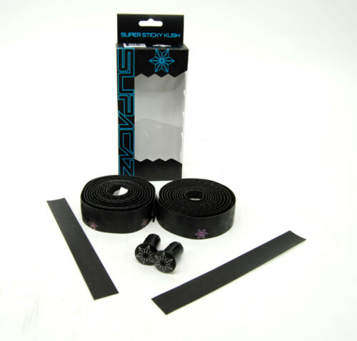 Supacaz Super Sticky Kush Road Bike Bar Tape Black//Oil Slick with Bar Plugs