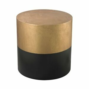 Details About New Stunning Gold Black Wood Transitional Round Drum End Side Accent Table