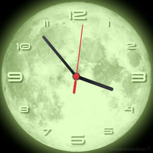 Details about FULL MOON WALL CLOCK - Glow-in-the-Dark - boys girls  childrens bedroom deco gift