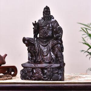 African Ebony Wood China Guan Gong Yu Warrior God Guangong Statue Carved,,WOODEN