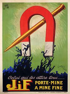 Affiche-Originale-Jean-Carlu-JiF-Porte-Mine-Porte-Plume-Stylo-1923