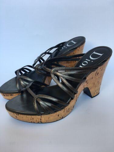 Christian DIOR Gray Leather Platform Summer Clogs