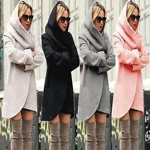 info for f8529 fa38b Details zu Damen Winter Kapuze Jacke Mantel Lange Cardigan Strickjacke  Windjacke Wollmantel