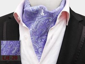 Black Purple White Beige Brown Silk Blend Cravat Ascot Tie