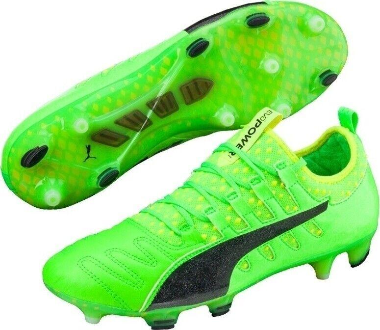PUMA Men's evoPOWER Vigor 1 K Lth FG Football Boots - Various Sizes - Green -New