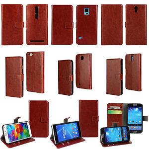 PU-Leather-Flip-Case-Wallet-HOUSSE-SIMILI-CUIR-Etui-Coque-Portefeuille-Marron