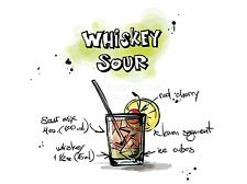 ART PRINT PAINTING DRAWING ALCOHOL COCKTAIL RECIPE GIN TONIC LFMP0932