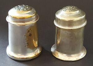 Silver-plate-electroplate-vintage-Art-Deco-antique-salt-amp-pepper-shakers-pots