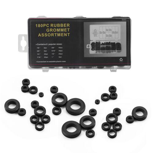 180Pcs Rubber Grommet Assortment Kit Firewall Hole Electrical Wiring Gasket Plug