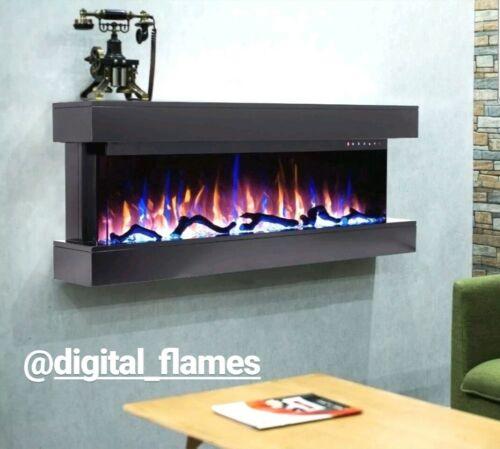 50 pulgadas LED /'Digital llamas/'s moderno Mantel montado en pared de vidrio Fuego Eléctrico 2019