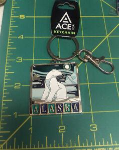 New-Metal-Alaska-Keychain-Polar-Bear-in-ice-scene-key-ring-with-metal-clip