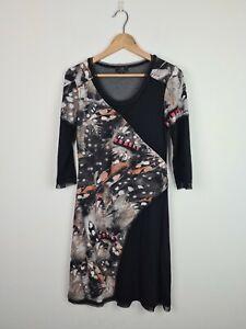 Gabriella Frattini Animal Print A-Line 1/2 Sleeve Dress Women's Size 8 Mesh Trim
