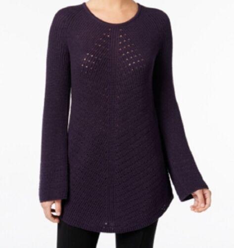 Style /& Co Gray//Purple XS//S//M Women/'s Scoop-Neck Tunic Sweater