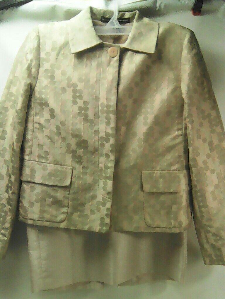 Linda Allard Ellen Tracy Petite Brown Pink Dot Silk 2Pc Skirt Suit Women Size 6P
