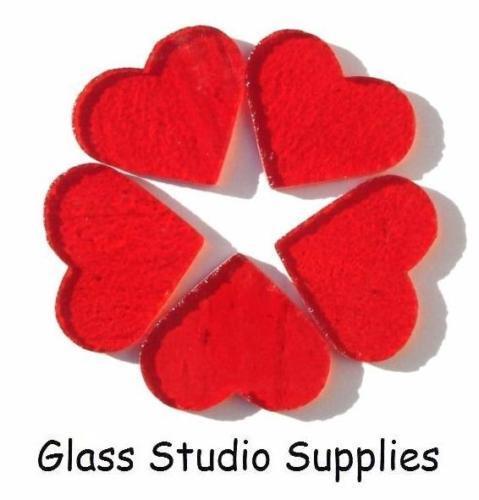 3cm Pré Coupé rouge coeurs transparente pour ou fusionnés vitraux 90coe pcht3