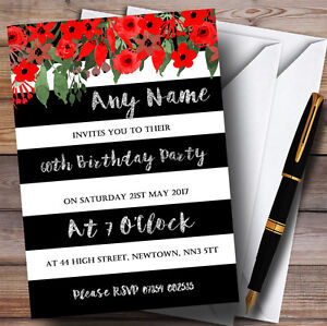 Details About Red Floral Black White Silver 60th Personalised Birthday Party Invitations