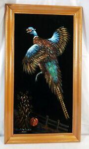 PHEASANT-BIRD-BLACK-VELVET-PAINTING-26-039-x-15-039-HUNTING-DECOR-jean-Austin-1977