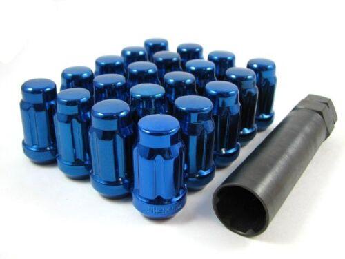 20 Pc Set Spline Tuner Lug Nuts ¦ 12x1.5 ¦ Blue ¦ Chrysler Buick Cadillac