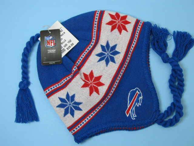 NFL BUFFALO BILLS TASSEL KNIT HAT NFL TEAM APPAREL YOUTH 8 - 20 NWT
