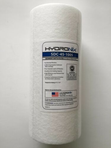 "2 FILTERS HYDRONIX 5 MICRON BIG BLUE 10/""x4.5/"" SEDIMENT FILTER NSF CERTIFIED"