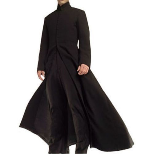 Mens Matrix Neo Keanu Reeves Wool Cape Long Woolen Black Trench CoatAll sizes