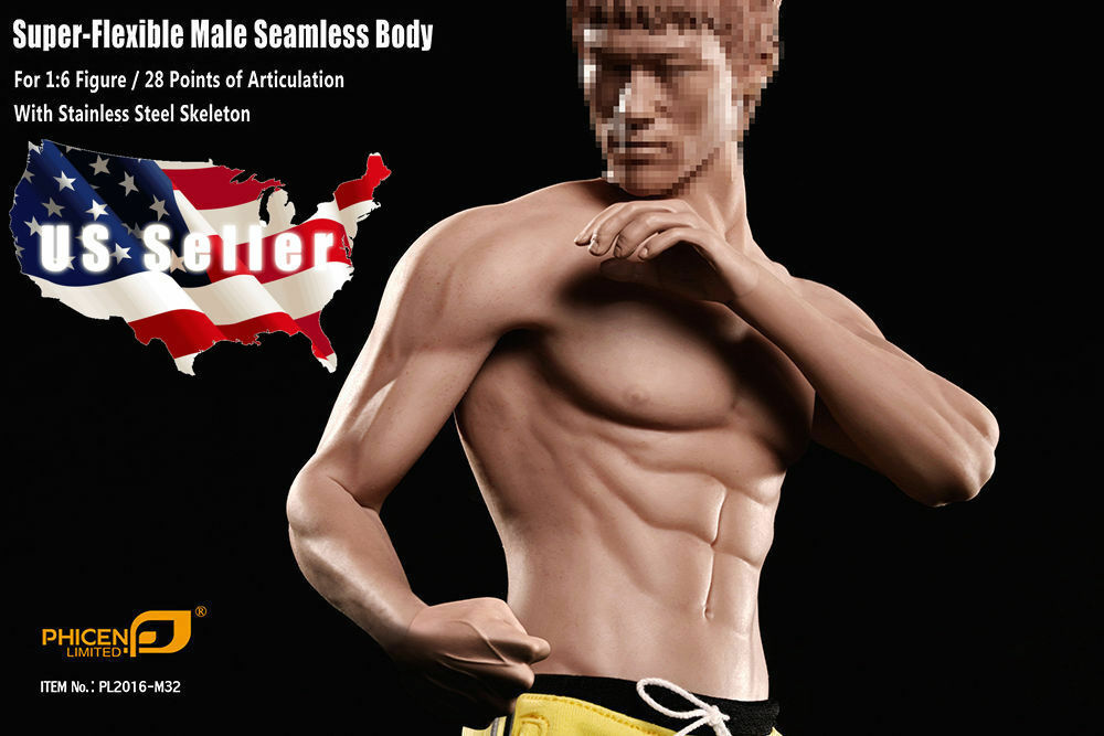 1/6 Phicen PL2016-M32 Seamless Muscular Body Steel Skeleton For Bruce Lee USA