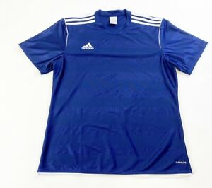 Details about Adidas Athletic Shirt Blank Soccer Jersey Mens Large Navy Blue Climalite