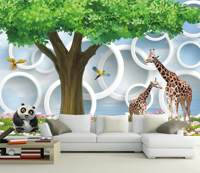 3D Animals Circles 618 Wall Paper Murals Wall Print Decal Wall Deco AJ WALLPAPER