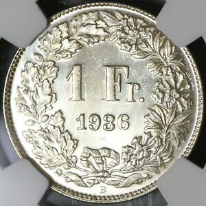 1936-NGC-MS-65-PL-Switzerland-1-Franc-Proof-Like-Swiss-Silver-Coin-20111401C