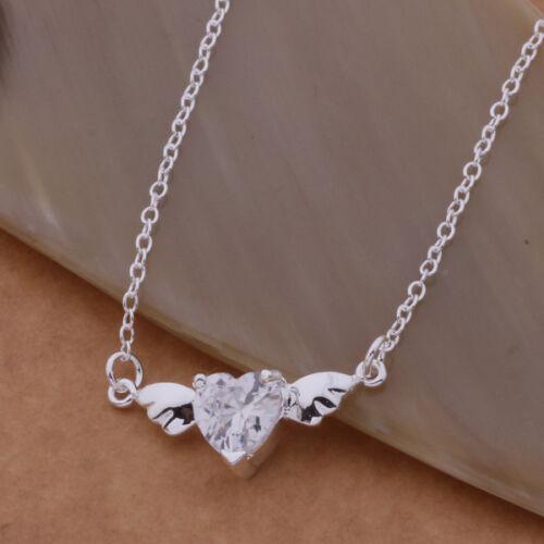 Zikkonia Engel Halsketten Anhänger Kristall Herz 925 Silber  Glücksbringer AAA