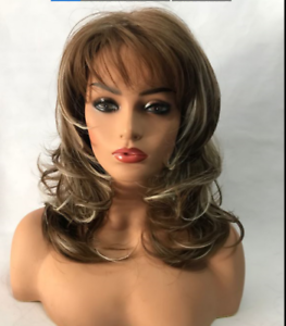 100% Real Hair Beautiful Sexy Brown mixed gold Wavy Wig For Women Human Hair New