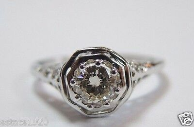 Antique Diamond Engagement Ring 14K White Gold Ring Size 6.25 EGL USA Art Deco