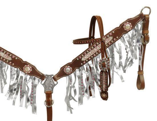 Showman CRISTAL STRASS Cowgirl Up Cabezada y flecos pecho collar conjunto