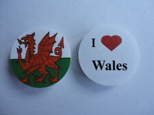 Wales I Love Wales Welsh Dragon Flag 25mm Button Lapel Pin Badge. New