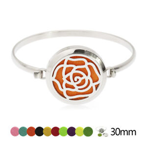 Image Is Loading Stainless Steel Flower Essential Oil Diffuser Locket Bangle