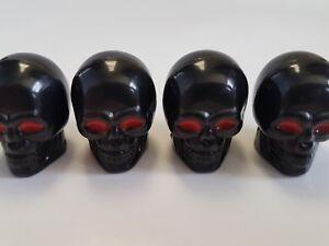 Black Skull Red Eyes Car Van Bike Motorbike Wheel Tyre Valve Dust Caps x 4
