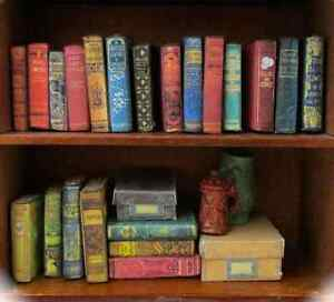21-DUSTY-OLD-BOOKS-Miniature-Dollhouse-1-12-Scale-FILL-Bookshelf-PROP-Faux-Books