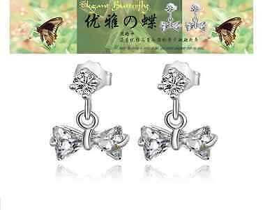 925 Sterling Silver Clear Crystal Butterfly Bow Tie Stud Earrings Gift Box D10