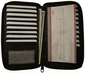 Genuine-Leather-Zip-Around-Long-19-Credit-Card-Check-Book-ID-Holder-Safe-Wallet
