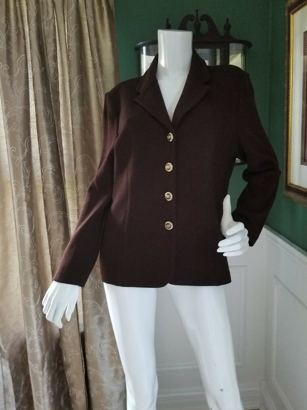 St. John Knits Classic Collection  Brown blazer - gold Buttons Size 10