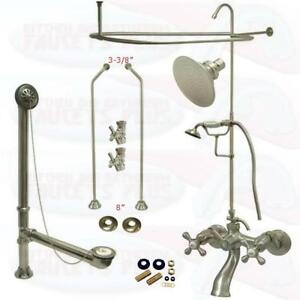 clawfoot tub plumbing kit. Image is loading Satin Brushed Nickel Clawfoot Tub Faucet Kit W  Shower Riser