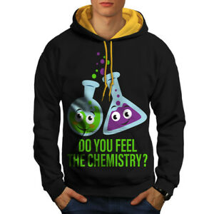 Men Feel Chemistry New Black Hoodie Hood The gold Contrast 66n1H