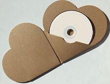 25 Tarjeta de Kraft Marrón reciclado en forma de corazón CD DVD Manga/Cartera/Cubierta en Blanco