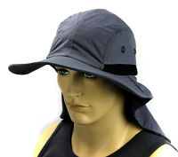 Boonie Hat Cap Sun Flap Bucket Hat Ear Neck Cover Cool Soft Material- Dark Gray