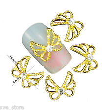 10 Pcs Gold butterfly 3D Crystal Rhinestone Glitters For Nail Art Decoration