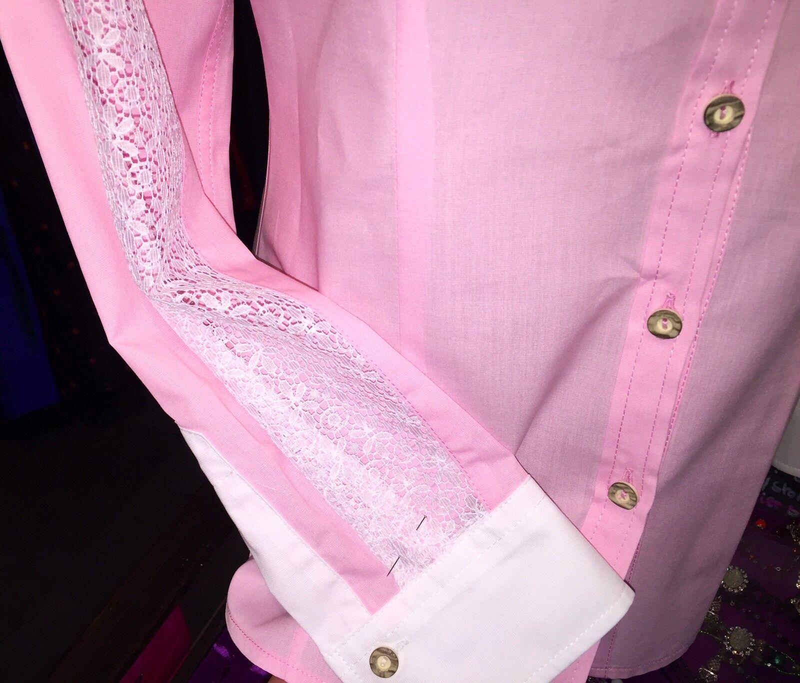TrachtenBlause, Blause, Rosa, rosé, Stehkragen, Gr 40 Spitze weiß, Abend, Abend, Abend, langarm | Klein und fein  | Modisch  | Sofortige Lieferung  8995cf
